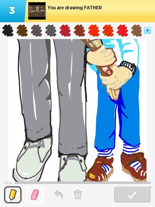 Сын держит руку отца - рисунок