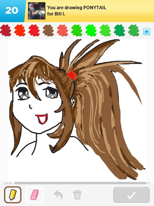 how to draw a ponytail