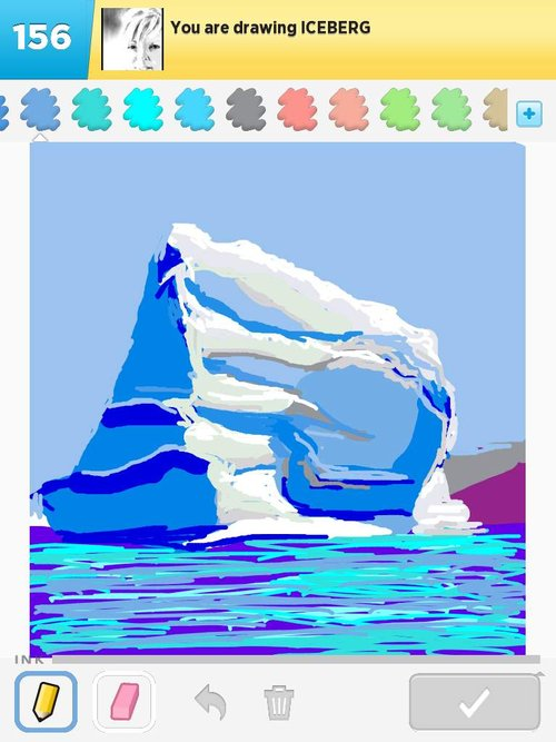 how to draw an iceberg step by step