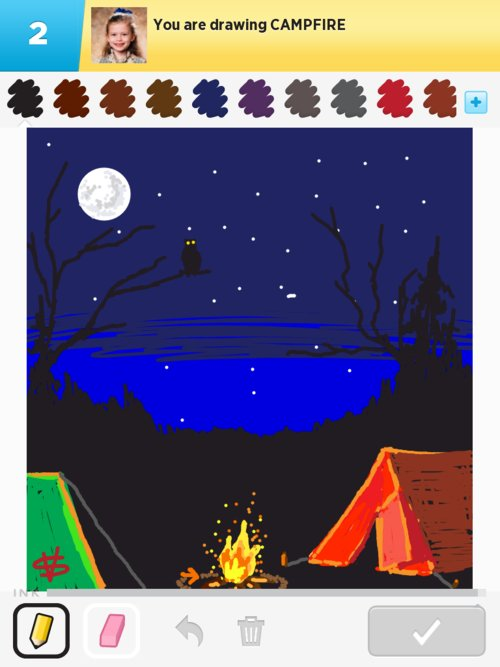 how to draw a campfire next to