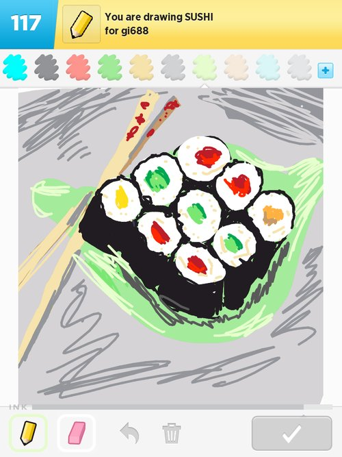 how to draw a sushi
